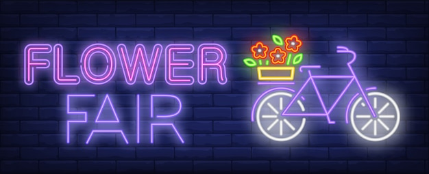 Flower fair neon text, bicycle with flowers on luggage carrier Free Vector