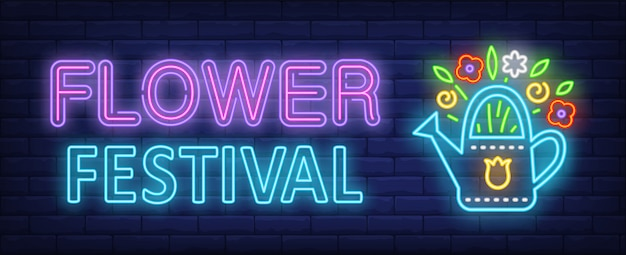 Flower festival neon text with flowers in watering pot Free Vector