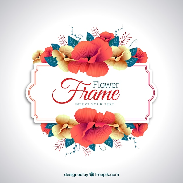 Flower frame background Free Vector