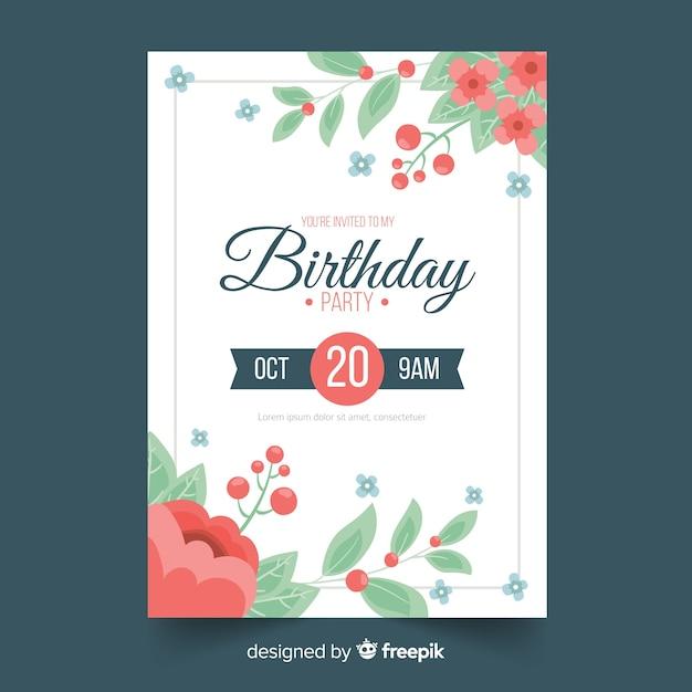 花のフレームの誕生日の招待状のテンプレート 無料ベクター