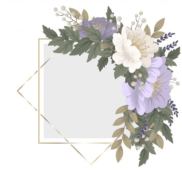 꽃 프레임 템플릿-푸른 꽃 무료 벡터