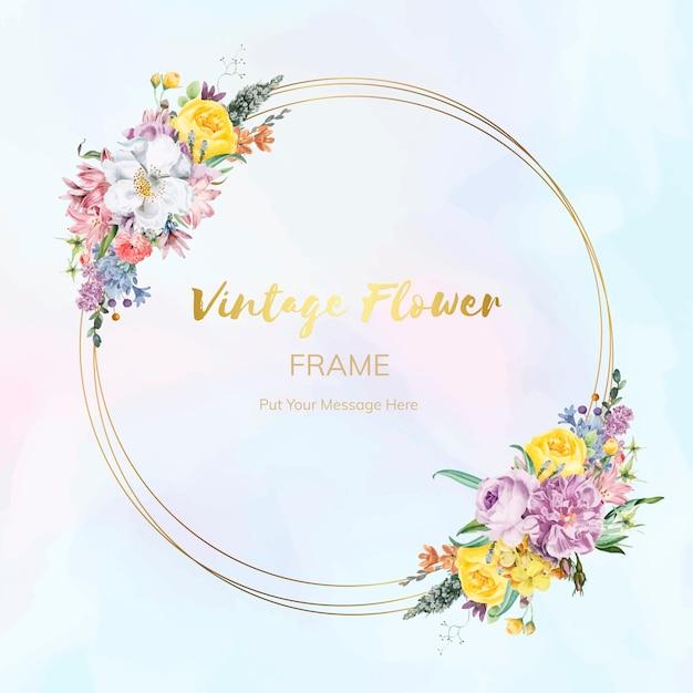 Flower framed badge Free Vector