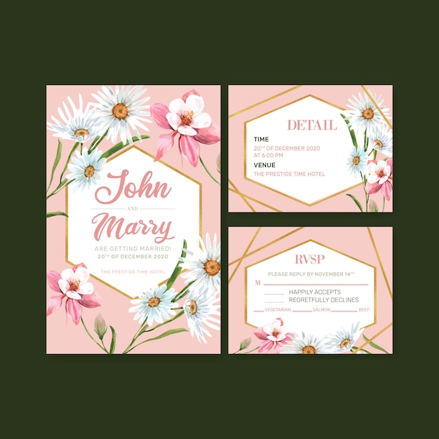 Flower garden wedding card with daisy, columbine flower watercolor illustration. Free Vector