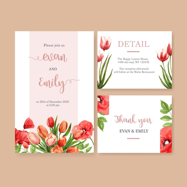 Flower garden wedding card with tulips, poppy flowers watercolor illustration. Free Vector