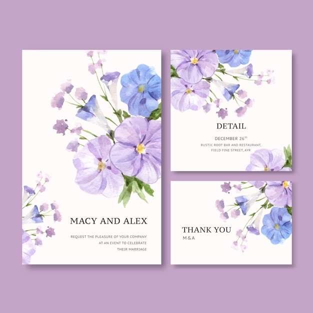 Flower garden wedding card with vinca watercolor illustration. Free Vector