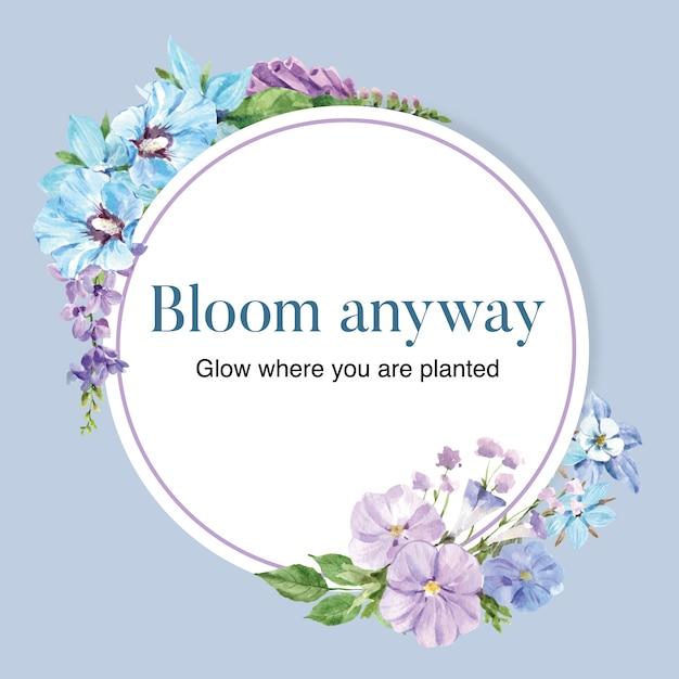 Flower garden wreath with hibiscus, columbine flower watercolor illustration. Free Vector