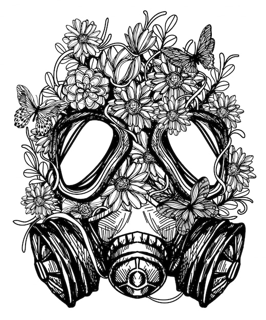 Flower in gas mask toxicity emblem  tattoo Premium Vector