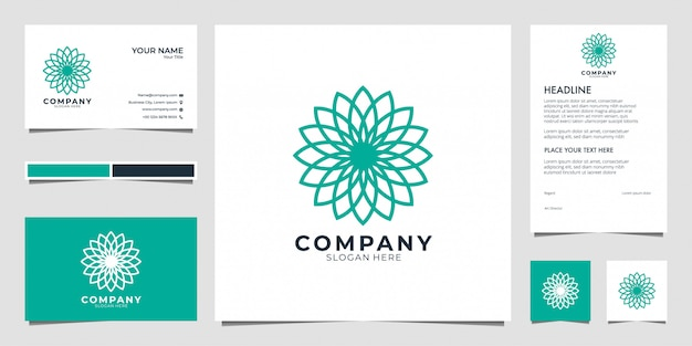 Flower geometry logo  . logos can be used for spa, beauty salon, decoration, boutique. and business card Premium Vector