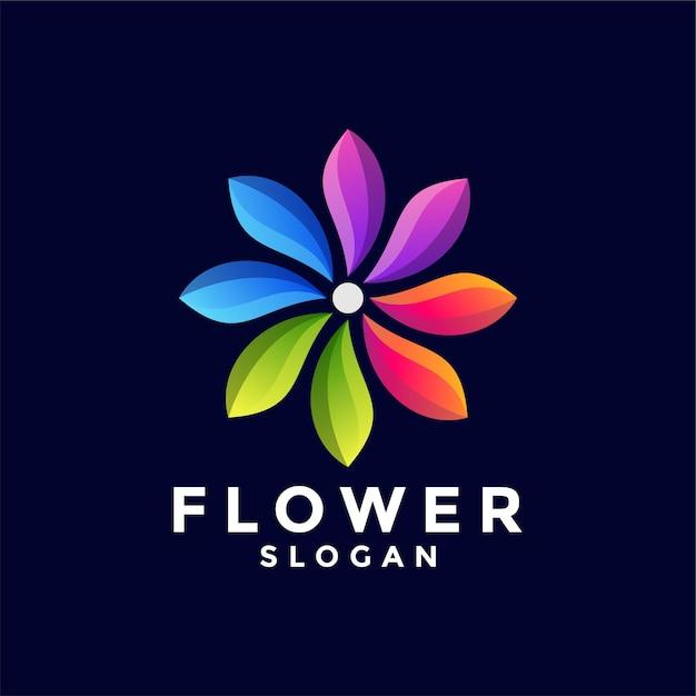 花のグラデーションカラーロゴ Premiumベクター
