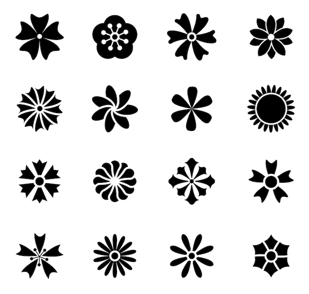Flower icon set vector illustration outline Premium Vector