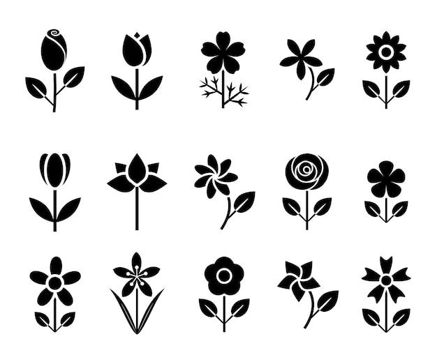 Flower icon set vector illustration Premium Vector