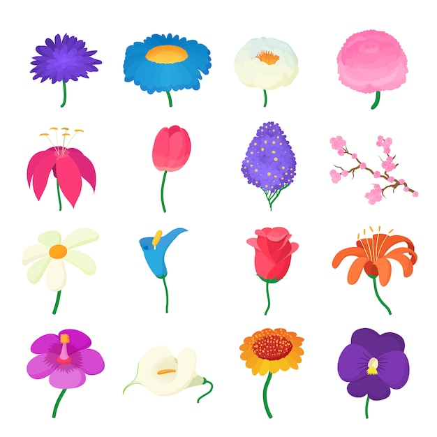 Flower icons set in cartoon style isolated vector Premium Vector