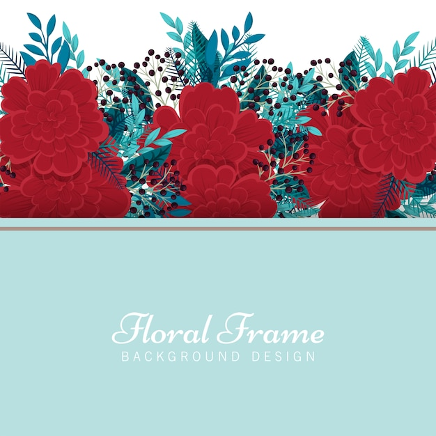 Flower illustration frame template - red and mint floral background Free Vector