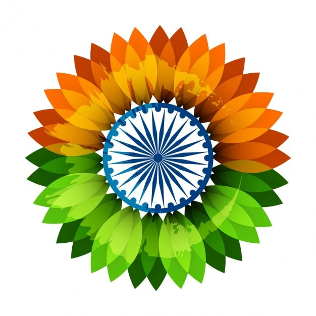 Flower in indian flag colors Vector Free Download