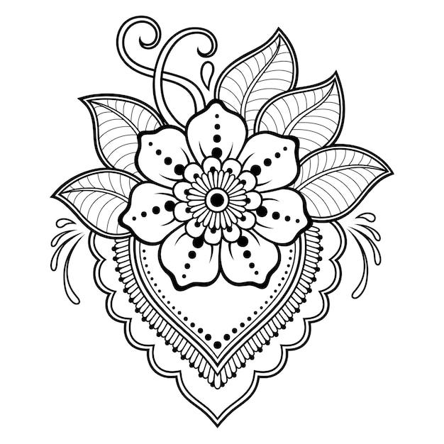 一時的な刺青スタイルの花。 Premiumベクター
