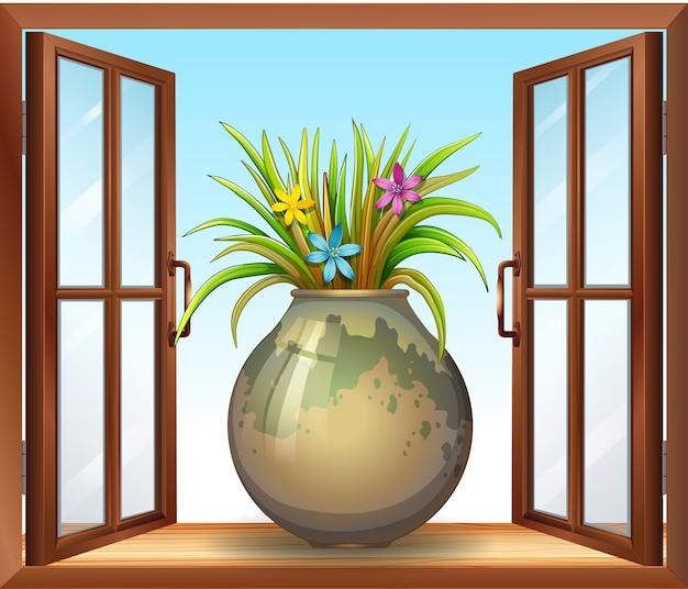 窓の近くの花瓶を花します。 無料ベクター