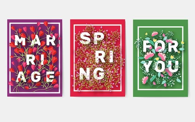 Набор цветочных информационных карт. осенний шаблон flyear, журналов, плакатов, обложек книг, баннеров. Premium векторы