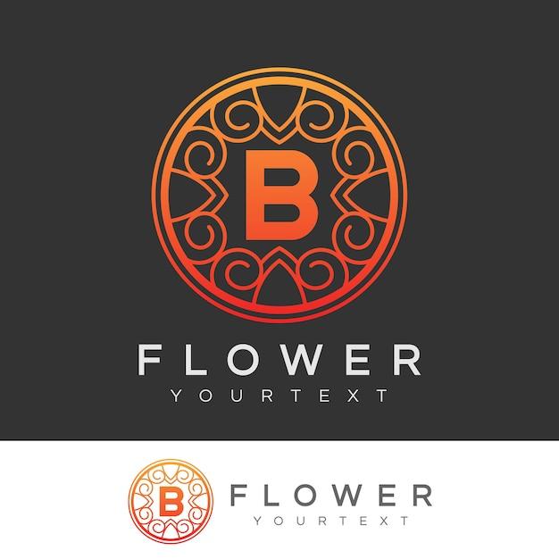 flower initial Letter B Logo design Premium Vector