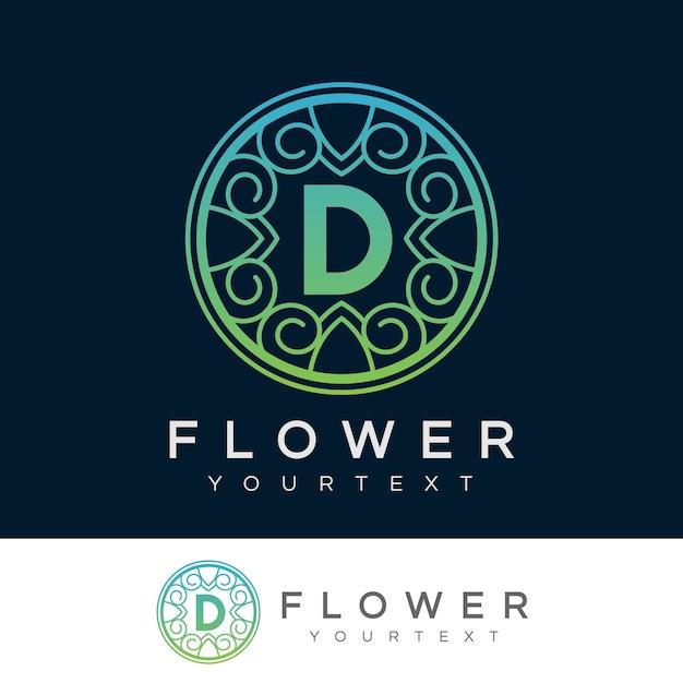 flower initial Letter D Logo design Premium Vector