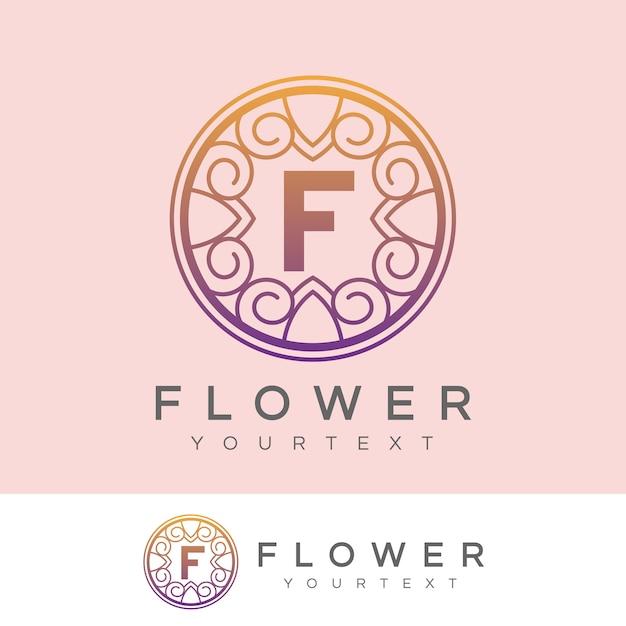 flower initial Letter F Logo design Premium Vector