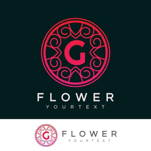 flower initial Letter G Logo design Premium Vector
