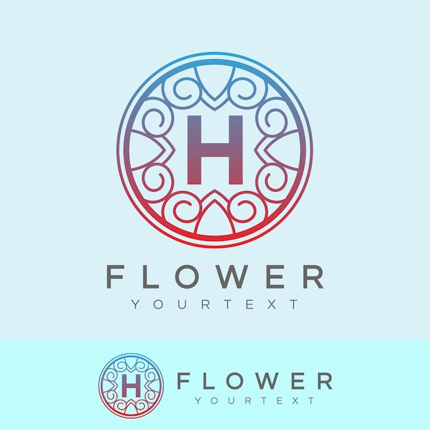 flower initial Letter H Logo design Premium Vector