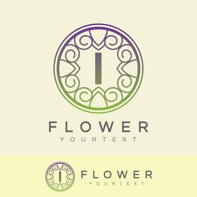 flower initial Letter I Logo design Premium Vector