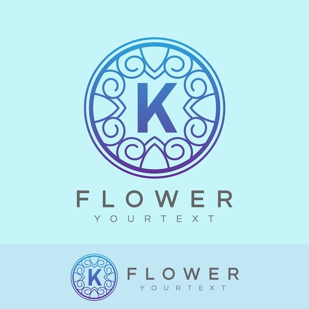 flower initial Letter K Logo design Premium Vector