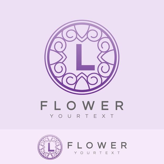 flower initial Letter L Logo design Premium Vector
