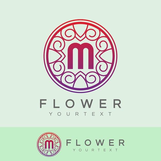 flower initial Letter M Logo design Premium Vector