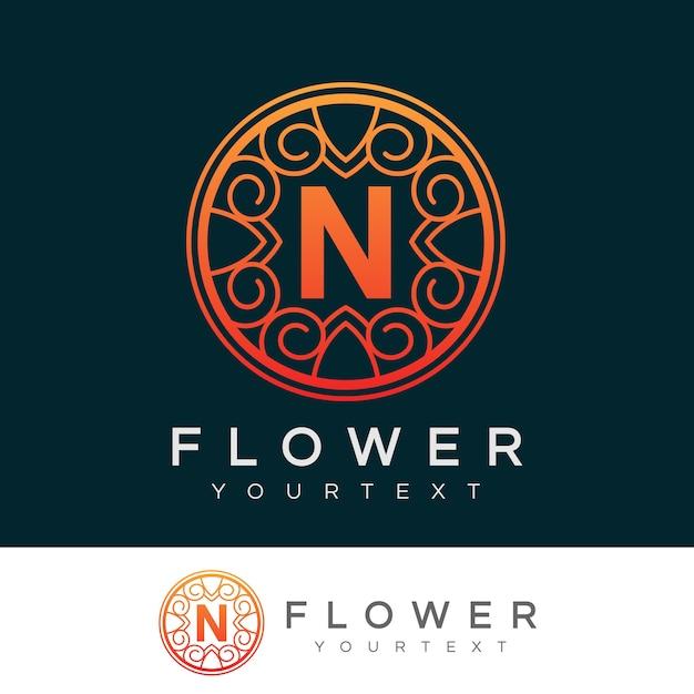 flower initial Letter N Logo design Premium Vector