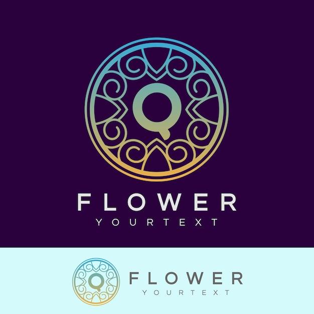 flower initial Letter Q Logo design Premium Vector