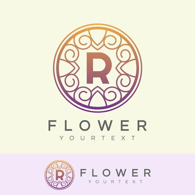 flower initial Letter R Logo design Premium Vector