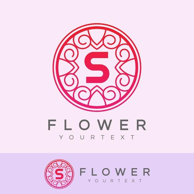 flower initial Letter S Logo design Premium Vector