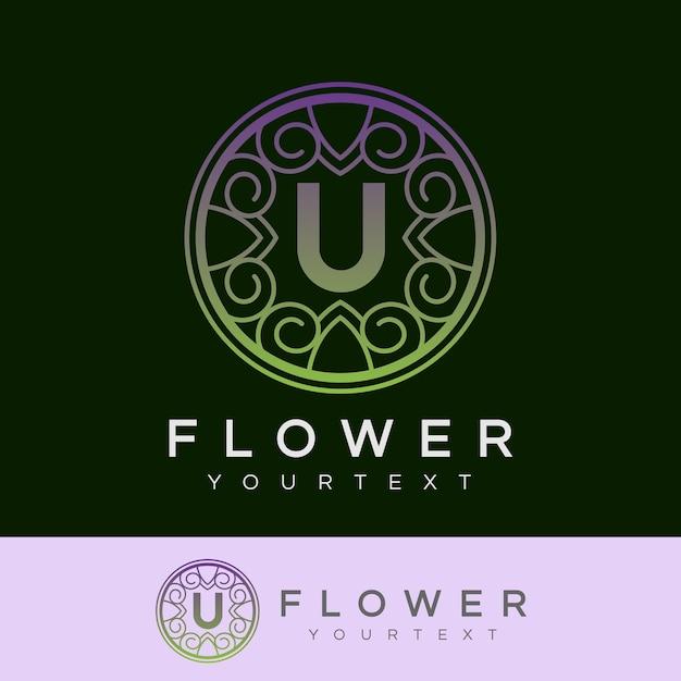 flower initial Letter U Logo design Premium Vector