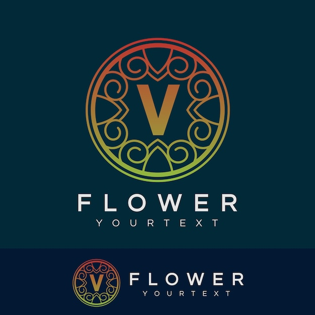flower initial Letter V Logo design Premium Vector