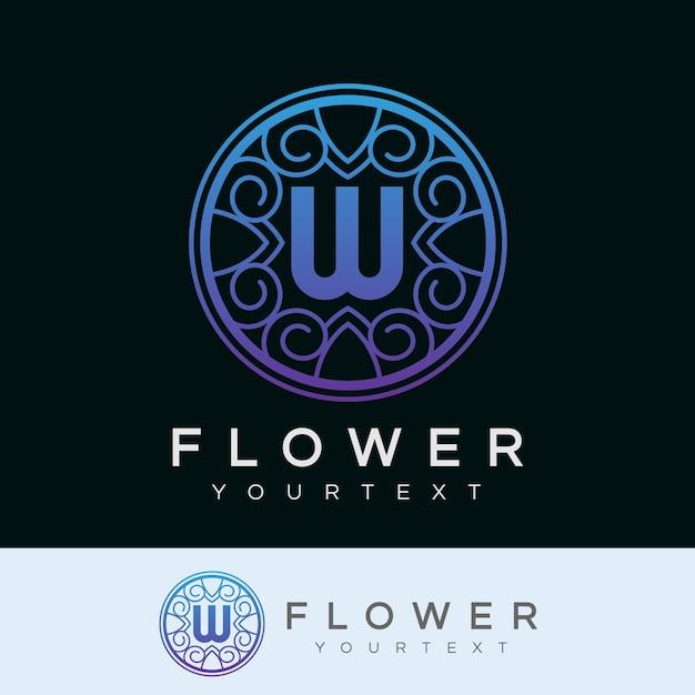 flower initial Letter W Logo design Premium Vector