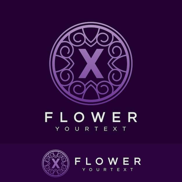 flower initial Letter X Logo design Premium Vector