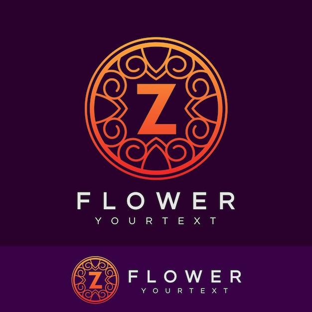 flower initial Letter Z Logo design Premium Vector