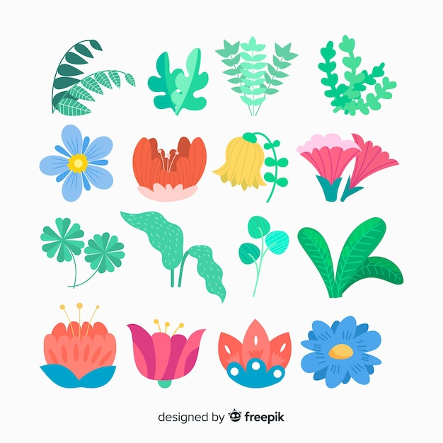 Flower and leaf collection Free Vector