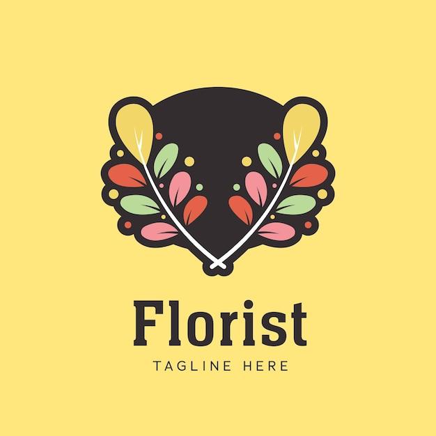 꽃 잎은 화려한 스타일의 꽃 가게를위한 꽃집 화환 월계수 로고 아이콘 기호 잎 프리미엄 벡터
