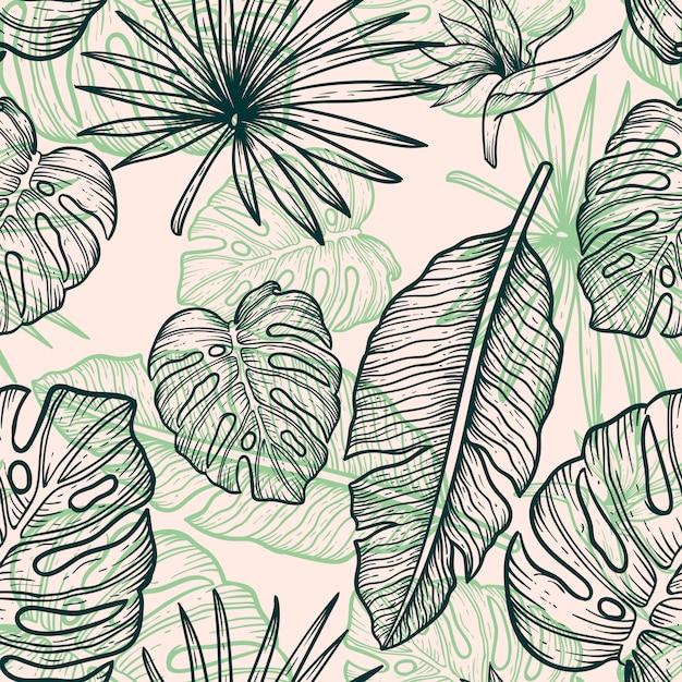 Flower leaves line hand draw vintage design Premium Vector