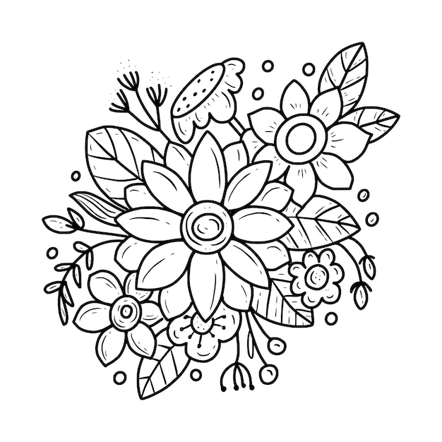 Premium Vector Flower Line Art Coloring Page Drawing