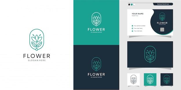 Цветочный логотип и дизайн визитной карточки. салон красоты, мода, салон, премиум Premium векторы
