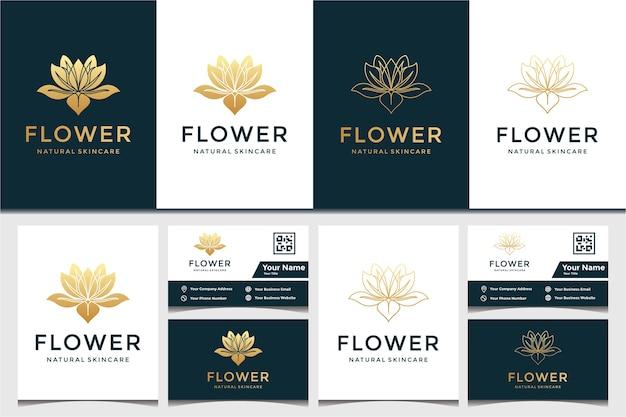 Цветочный логотип и шаблон дизайна визитной карточки. красота, мода, салон и спа Premium векторы