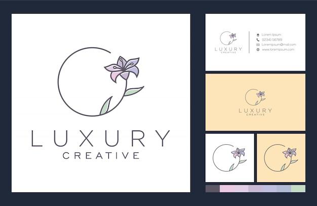 Цветочный логотип и дизайн визитной карточки Premium векторы