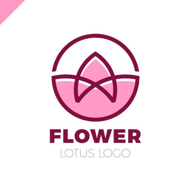 flower logo circle abstract design vector template lotus spa icon