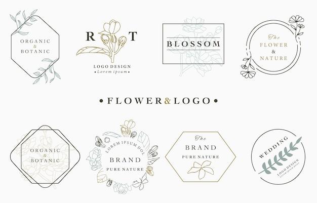 葉、幾何学的、円、正方形のフレームと花のロゴコレクション。 Premiumベクター