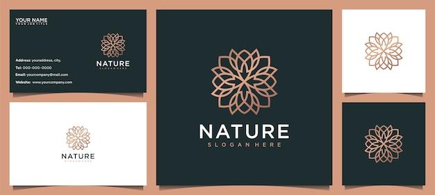 Цветочный дизайн логотипа, вдохновляющий для ухода за кожей, йоги, косметики, салонов и спа, с концепцией линии и визитной карточкой Premium векторы