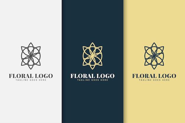 라인 개념 꽃 로고 디자인 서식 파일 프리미엄 벡터